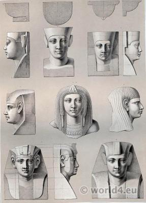 Ancient Egypt sculptures. Studies of Pharaoh heads and headdresses