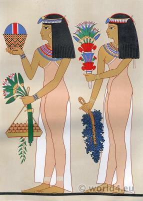 Ancient Egypt woman costumes. Egyptian decoration and paintings