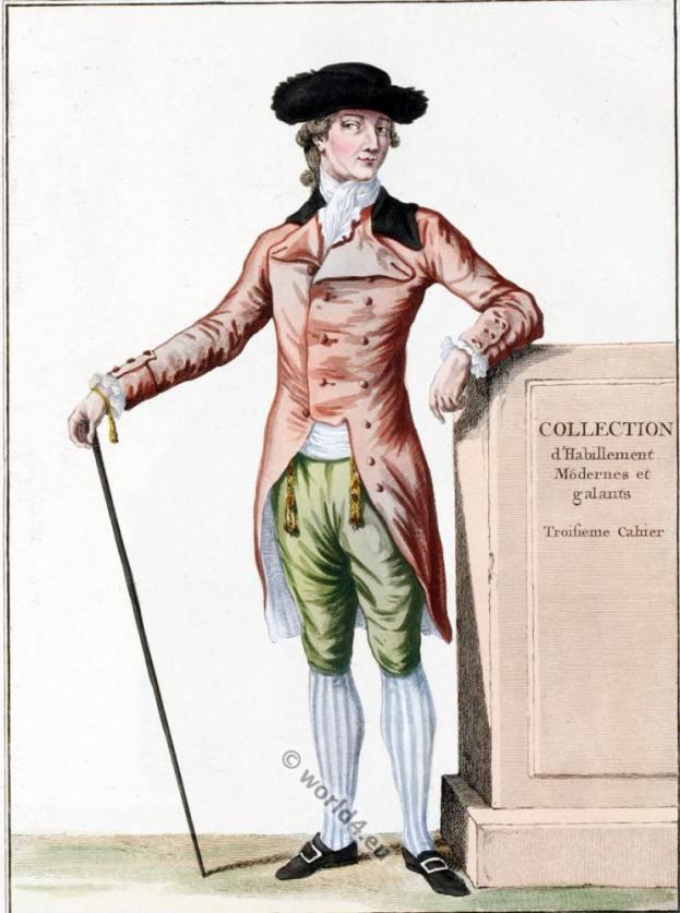 rococo fashion. 18th century costumes.Frac à l'anglaise, avec Bavaroises.