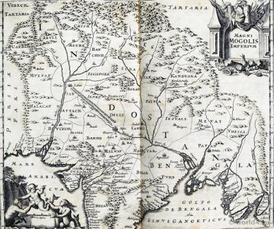 Old India Map of the Mughal Empire 17th century.