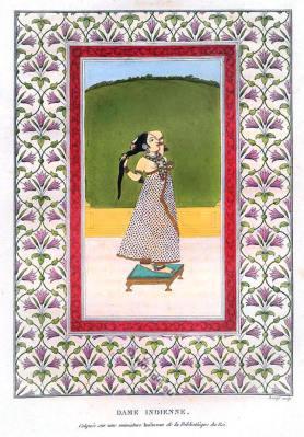 India Mughal miniature painting. Indian Mughal lady costume. Mogul Empire Shah Art Scene.