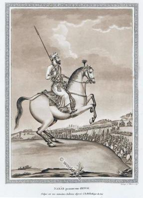 India Mughal miniature painting. Mogul Empire Nawab viceroy gouverneur costume.