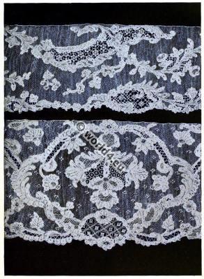 Italian lace. Point d`Alençon. 17th century. Style of Louis XIV. Needle point.