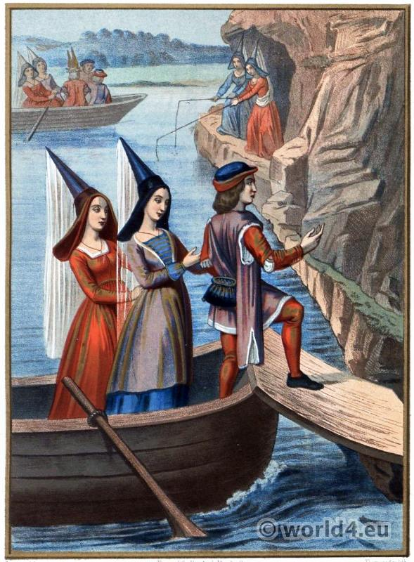 French Middle ages fashion. Burgundy gothic costumes. Ladies with Henin headdresses.