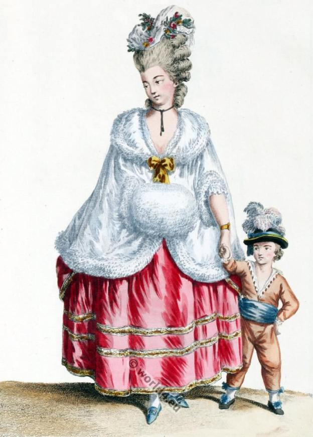 Pelisse de Satin doublé poil de Chat-Angora. Louis XVII costume period. Rococo fashion.