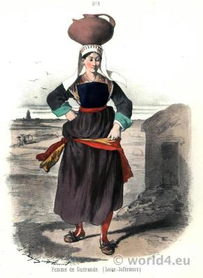 Traditional French national costumes. Region Western Loire folk dress.