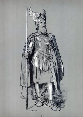 """Wotan, in the """"Valkyrie"""". Opera Costumes. The Ring Cycle. Ring des Nibelungen. Richard Wagner."""