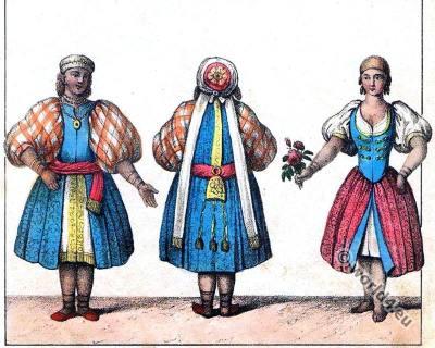 Algeria costumes. Traditional Algerian folk dresses. Arab woman house-clothes