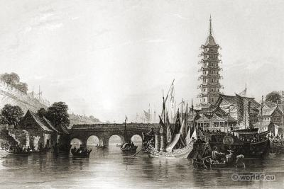 The Bridge of Nanjing. Ancient China architecture. Chinese Landscape.