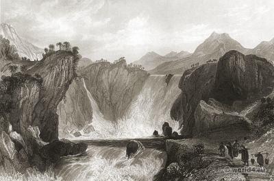 Ancient China Landscape. The Cataract of Shih Tan, Yangtze River.