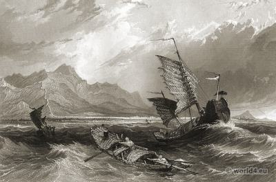 The Great Wall of China, Gulf of Pecheli.  Imperial China sceneries in 19th century.