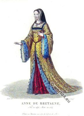Anne de Bretagne, Duchess of Brittany, Queen of France. Renaissance fashion