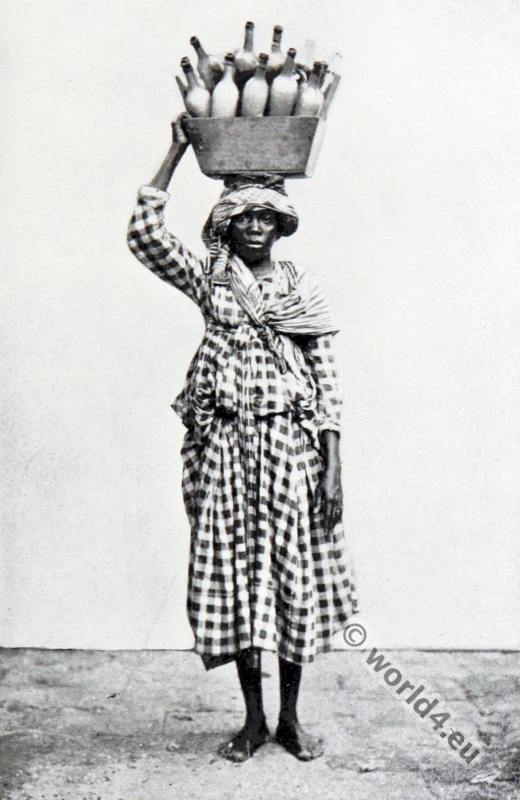 Traditional West Indian costumes. Milk seller from Guadeloupe.
