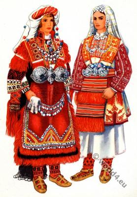 Macedonian national costumes from Moruovsko, Smiljevo - Bitola.