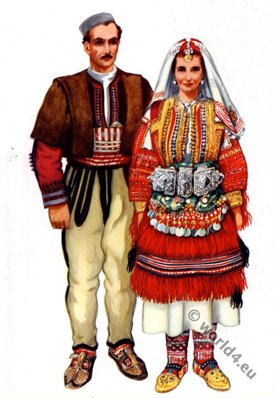 Vladimir Kirin. Macedonian national costumes from Galicnik.