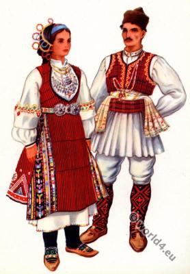 Macedonian national costumes, Kocani. Македонски народни носии од Кочани.
