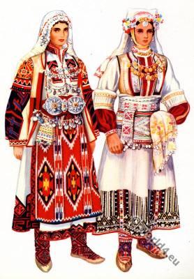 Macedonian national costumes from Kumanovo, Tetovo.
