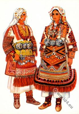 Macedonian national costumes from Krusevo, Prilep.