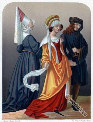 Hennin. Headdresses. 15th century. Middle ages fashion. Burgundy costumes. Gothic period.