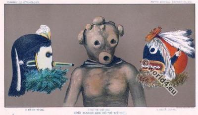 American Native Indian Zuni masks and Ko-ye-me-shi.