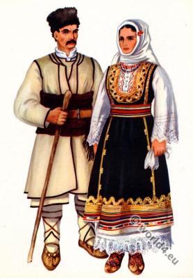 Serbian folk costumes Crna Trava. Balkans folk dresses.
