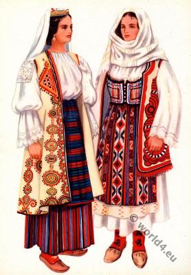 Serbian national costumes from Požarevac, Resava. Balkans folk dresses. Народна носња из Пожаревца, Ресаве.