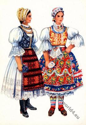 Serbian national costumes from Vojvodina, Bačka Topola. Balkans folk dresses