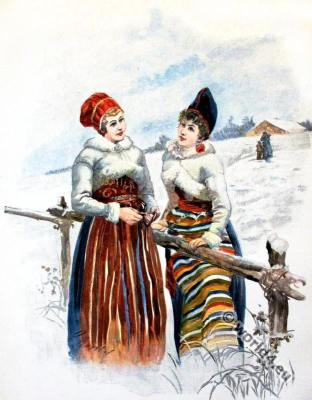 Folk costume from Sweden. Traditional swedish national costumes.