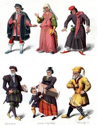 Switzerland medieval costumes. 15th century fashion.