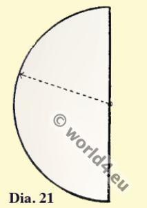 Byzantine costume history. Semicircular cloak pattern