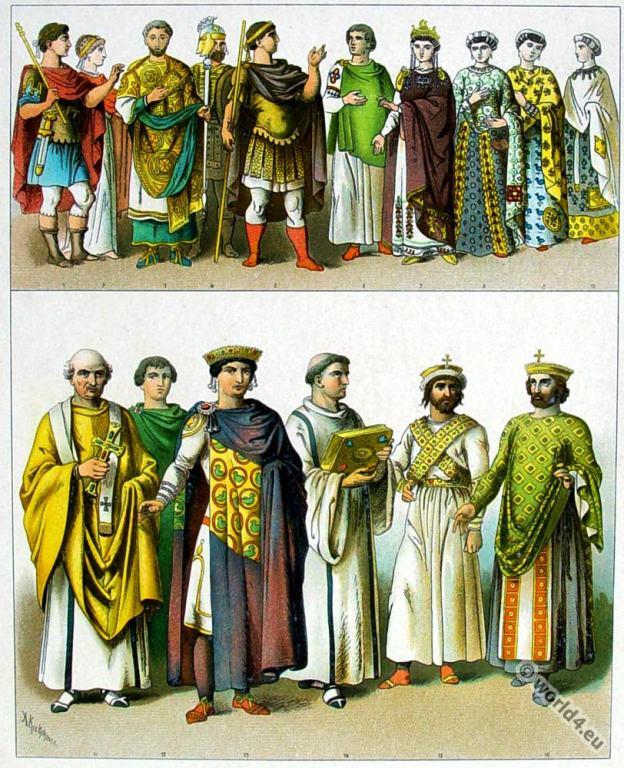 Byzantine costumes. Phocas, Heraclius, Zelia Flacilla, Theodosius,