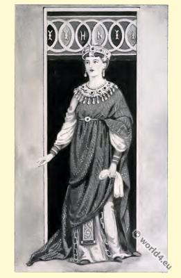 Byzantine Costume History. Empress of the Roman Empire.
