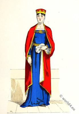 Capetian noblewoman costume. 11th to 13th century fashion. Medieval clothing in France.