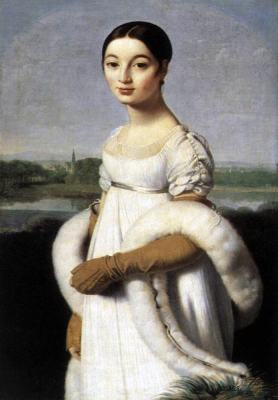 Mademoiselle Caroline Rivière. Neoclassical painting by Jean Auguste Dominique Ingres. First empire costume.