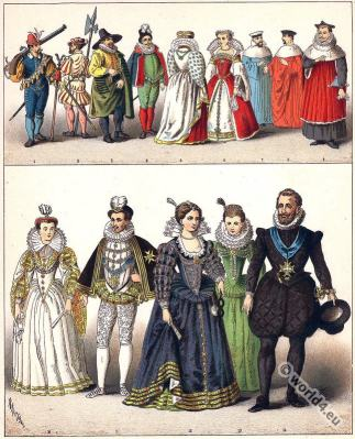 French court dress during the 16th century. Baroque costumes