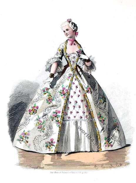 Crinoline costume. 18th century clothing, Rococo. Louis XV