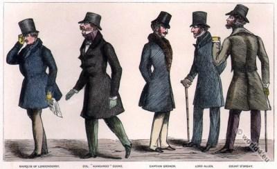 Regency dandies.  Dandy costume. Regency era fashion. Satirical 19th century.