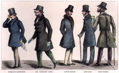 Regency dandies.  Dandy costume. Regency era fashion. Satirical 19th century.