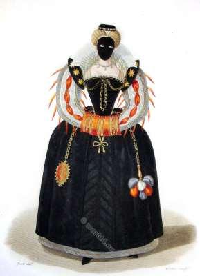 Demoiselle en Masque. Reign Henri III. 16th century costumes. Renaissance fashion