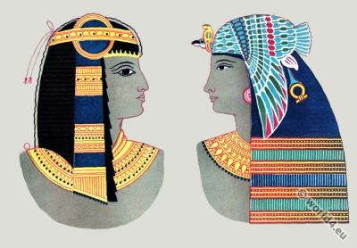 Ancient Egyptian costumes. Pharaoh crowns and headdresses. Wall Paintings Thebes. Egyptian Art