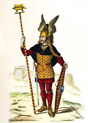 Gallic chief. Gaul warrior. Shield, Helmet. 3rd to 4th century costumes.
