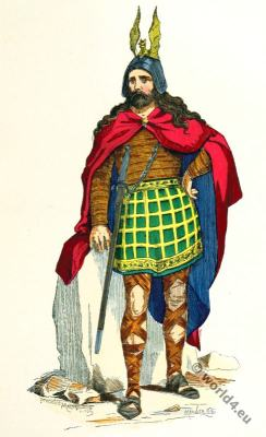 Roman gauls warrior. Gallic chieftain costume. 4th century clothing