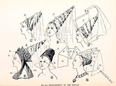 Hennin. Headdresses. 15th century. Middle ages fashion. Gothic, Burgundy fashion