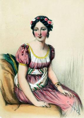 Laure Regnaud de Saint-Jean d'Angely. Regency Costume. French First empire fashion.