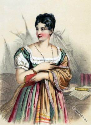 Marguerite Georges. Famous French stage actor. Mistress of Napoleon I. French First empire fashion. Regency Costume