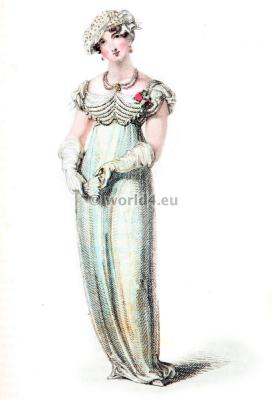 Evening Full dresses. Regency Costumes. France First empire fashion. Napoleonic costume period.