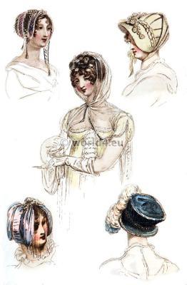 Fashionable Headdresses. Regency Costumes. France First empire fashion. Napoleonic costume period.