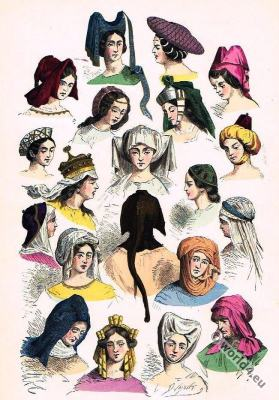 Renaissance Costume History. Headdresses and Hairstyles 15th, 16th century