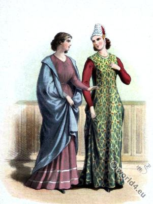 Medieval Spain clothing. 13th century fashion. Nobility costumes. Middle ages.