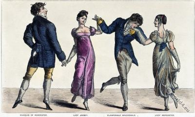 Quadrille. Romantic era fashion. Regency costumes. Satirical 19th century.